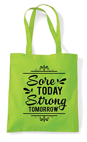 Shopper Today Sore Bag Tomorrow Motivation Tote Lime Strong Fitness Statement FqBq8Oxw