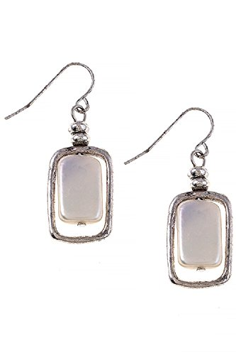 Square Fresh Water Pearl Freedom Fashion 316L Surgical Steel Earrings (Silver) (Lonesome Cowboy Costume)