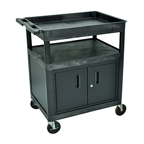 Luxor Large Tub Top and Flat Shelf Cart with Cabinet , Automotive, tool & industrial , Office maintenance, janitorial & lunchroom , Carts , Service/utility