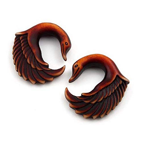 Swan Feather Earrings - JewelryVolt Pair Acrylic Swan Wings Bird Feathers Hanging Gauges (Brown 8mm (0g))