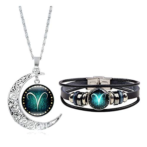 Dcfywl731 Fashion 12 Twelve Constellations Hand Woven Leather Bracelet and Moon Pendant Necklace Zodiac Sign Jewelry Set (Aries(3/21-4/19))
