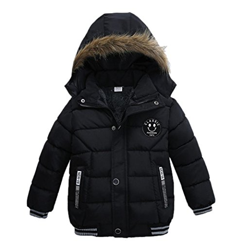 Sunbona Toddler Baby Boys Autumn Winter Down Jacket Coat Warm Padded Thick Outerwear Clothes (2T(12~18months), Black)