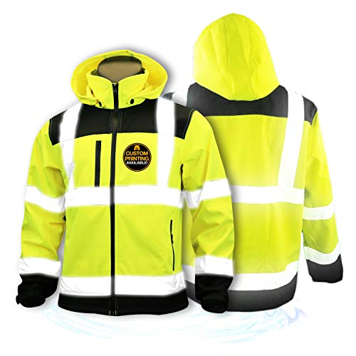 KwikSafety (Charlotte, NC) AGENT Class 3 SoftShell Safety Jacket | ANSI Water Resistant Lightweight Reflective Hi Vis PPE Detachable Hood| Wind Rain Construction, Men Women Yellow | X-Large (Safety Rain Jacket Mens)