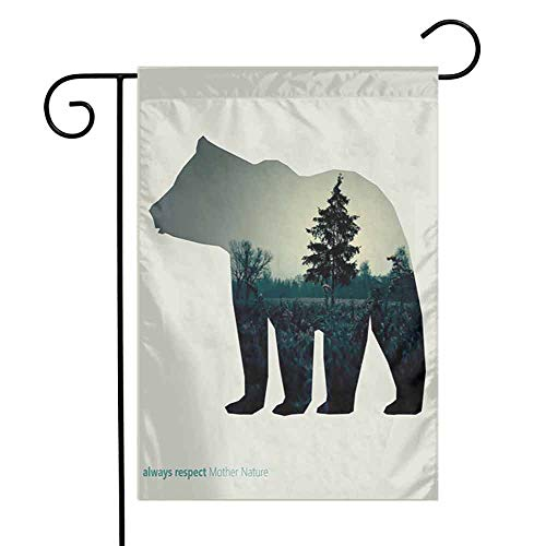FreeKite Cabin Decor Garden Flag Line Icon of Bear and Always Respect Mother Nature Text Dark Forest 12