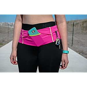 Stay Fit Running Belt. Made to meet the demanding needs of the serious long distance runner! Made for women! Made In USA! (Black/Lime, Large)