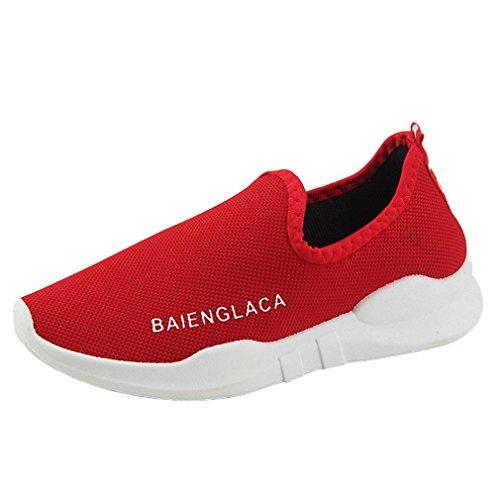 tefamore Chaussures Rouge Ventilation Solid Sport De Mesh Women Nouveau Shoes Course 6r6Haqx