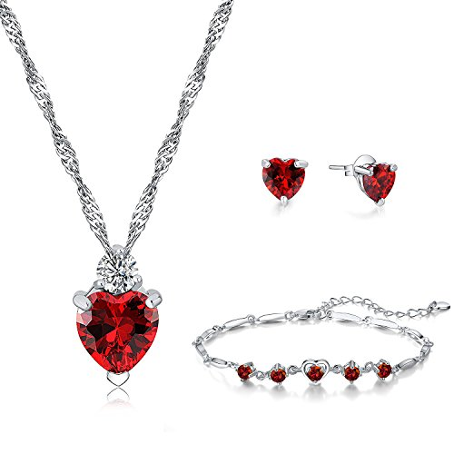 Majesto 925 Sterling Silver Red Heart Pendant Necklace Stud Earrings Bracelet Set for Women Teen Girls Gift (Red)