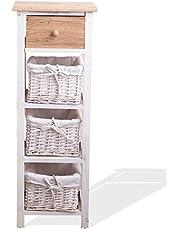 Rebecca Mobili Mueble baño, cajonera Estilo Country, 1 cajón 3 cestas, Madera de Paulownia Mimbre, marrón Blanco, Cuarto de baño Dormitorio- Medidas: 85 x 31 x 27 cm (AxANxF) - Art. RE4359
