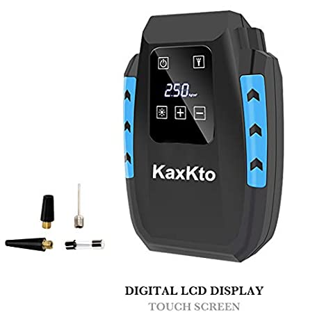 Kaxkto Portable Air Compressor Pump, Auto Tire Inflator and Mini Bike Pump  with Digital Touch Screen Display with Long Cable For Cars, Basketballs,