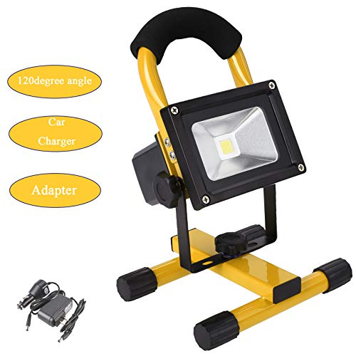 Upgraded 10W Wireless Rechargeable LED Flood Light Holiday Outdoors, Lawn, Garden, Pool, Camping Lamp Portable Stand Landscape Spotlight Emergency Light (Yellow)