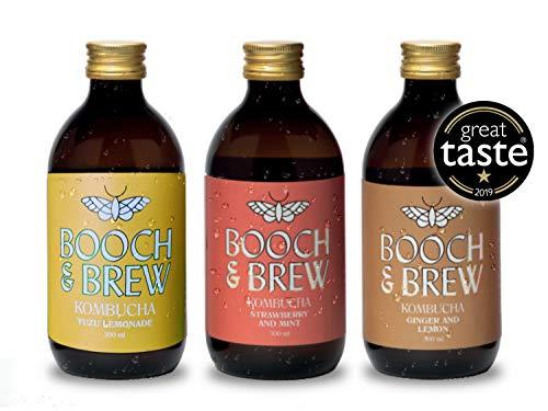 Booch & Brew Award Winning Vegan Kombucha – Mixed Case of Mind Blowing Flavours – 12 x 300ml Raw Unpasteurised Kombucha…