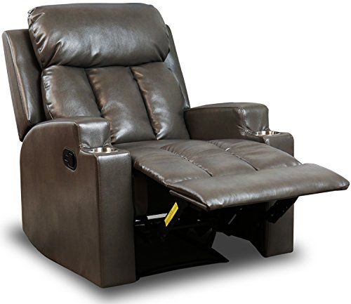 BONZY Recliner Chair Contemporary Theater Seating 2 Cup Holder Grey Leather Chair for Modern Living room Durable Framework