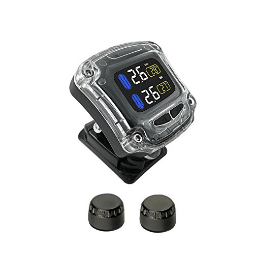 KDator Motorcycle Tire Pressure Monitoring System Wireless Waterproof Motorcycle TPMS + 2 External Sensors USB Power LCD Display