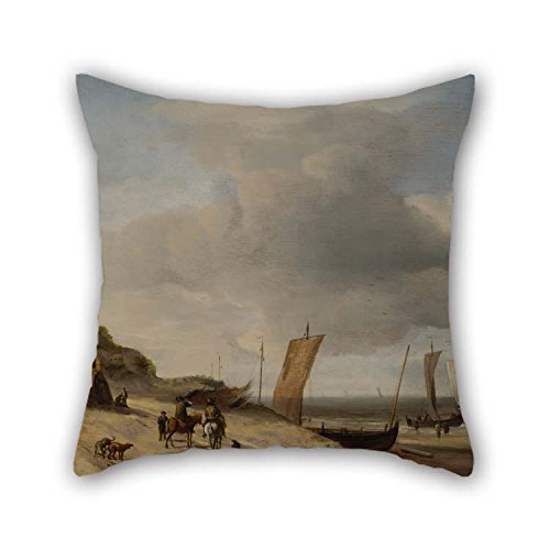 Scheveningen Rose (16 X 16 Inches / 40 By 40 Cm Oil Painting Velde, Adriaen Van De - Dunes At Scheveningen Throw Pillow Covers Two Sides Is Fit For Bar Seat Him Car Family Teens Boys Dining Room)