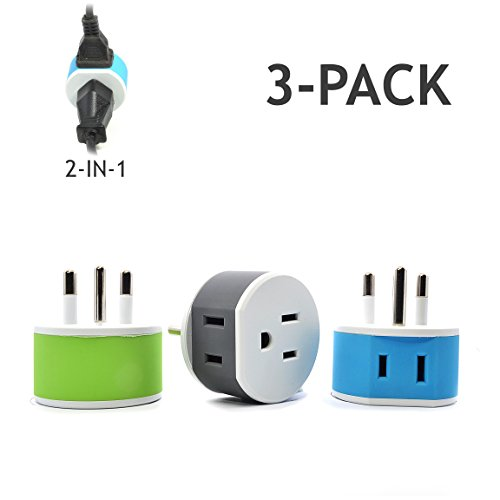 Thailand Power Plug Adapter by OREI with 2 USA Inputs - Travel 3 Pack - Type O (US-18) Safe Grounded Use with Cell Phones, Laptop, Camera Chargers, CPAP, and More (Adapter Thailand Travel)