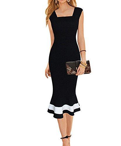 LunaJany Women's Vintage Midi Sheath Business Causal Office Party Wiggle Dress