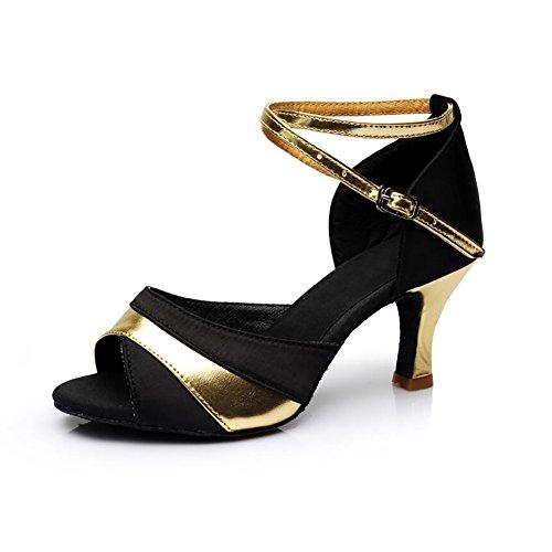 Ferse Schnalle EIN Salsa Satin rot Silber amp; Größe Sandale Ballroom Damen Abend XUE Latin Party 36 Schuhe Schuhe Tanzschuhe Schuhe Ein Gold Farbe Hqvxw4zt