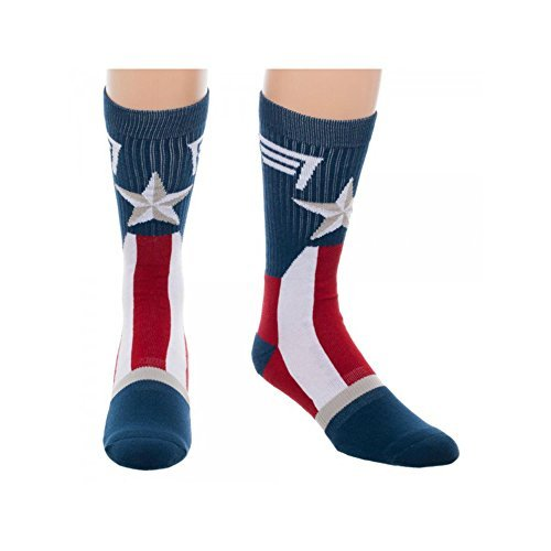Super Hero Marvel Comics Captain America Suit Up Crew Socks By Superheroes, size 10-13 from Super-Heroes