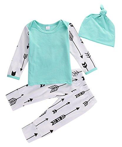 2 Piece 4 Arrow - Baby Girls Boys' 3 Piece Arrow Long Sleeve Tops T-shirt, Cap, and Pant Set (0-6M, Blue)