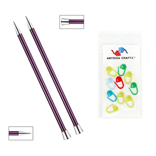 Knitter's Pride Zing Single Pointed Knitting Needles 14in. Size US 17 (12mm) Bundle with 10 Artsiga Crafts Stitch Markers 140289 by Knitter's Pride Knitting Needles