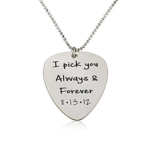(LAOFU Guitar Pick Necklace - Personalized Pick Necklace- 925 Sterling Silver)
