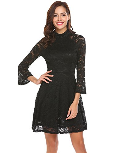 ELESOL Women Long Sleeve Lace A-Line Fit and Flare Cocktail Dress Black S