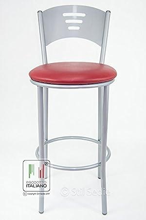 Stil Sedie - Sgabello in metallo verniciato alluminio con schienale e poggiapiedi, seduta tonda comoda, ideale come sgabello cucina, sgabello bar e sgabello slot. Tubolare ferro tondo, con sedile facilmente lavabile ed intercambiabile, disponibile in tre m