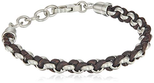 (Fossil Men's Woven Stainless Steel and Brown Leather Bracelet, One Size)