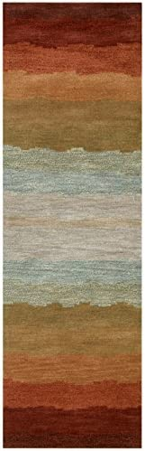 Rizzy Home Colours Collection Wool Area Rug, 5 x 8 , Multi Gray Rust Blue Striped