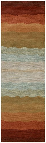 Rizzy Home Colours Collection Wool Area Rug, 2 x 3 , Multi Gray Rust Blue Striped