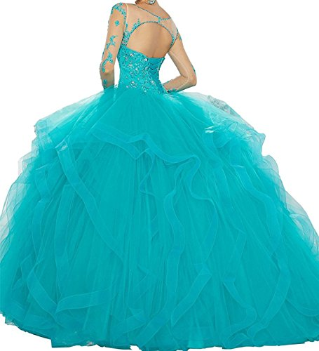 Bessdress Manches Douce Illusion 16 Perles Dos Ouvert Robe De Bal Quinceanera Bd434 Bleu Royal