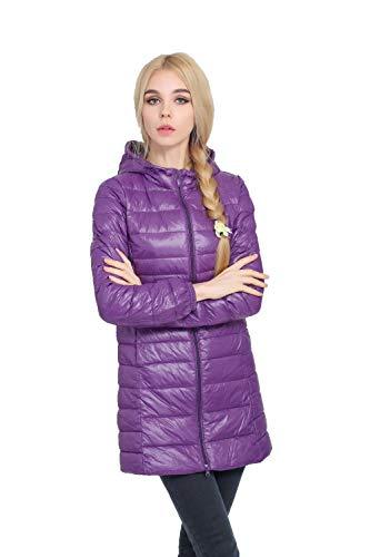 Blanco Fashionmaeabrigo Fashionmae S Depp Largo Pato Invierno De Con Xl 7 Ultra Chaqueta Ligero ~ Mujer Abrigo Capucha Cálido Morado zCqdCBw