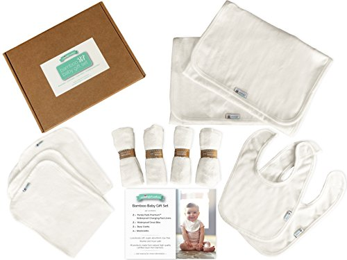 BAMBOO BABY GIFT SET. Changing Pad Liners, Bibs, Burp Cloths & Washcloths in a charming, gift ready box. Beautiful and functional, baby shower present one-stop shopping for this new parent necessity. Charming Sampler