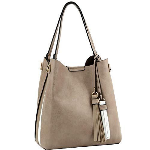 Two-Tone PU Leather Tassel Accent 3-Compartment Hobo Bag - Tone Tassel Two