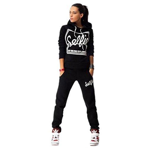 Women's Cotton Sport Pullover Two Piece Hoodie Tracksuit Sweatshirt Sweatpant Set (XL, Black)