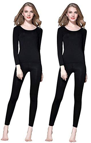 Lunghe Nero Vinconie Camicia Pack Maniche Elastico amp; Donna Termico Sottile Girocollo Intimo Lunghi Set Modal Pantaloni 2 aZBwWraqY