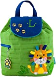 Monogrammed Stephen Joseph Lion Quilted Backpack, with Green Embroidered Initial L