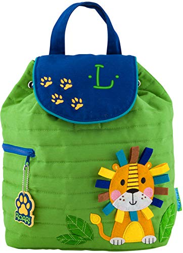 Monogrammed Stephen Joseph Lion Quilted Backpack, with Green Embroidered Initial L by Stephen Joseph