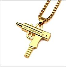 Fashion Mens Hip-hop Machine Gun Necklace Chain Pistol Pendant for Boy Girl