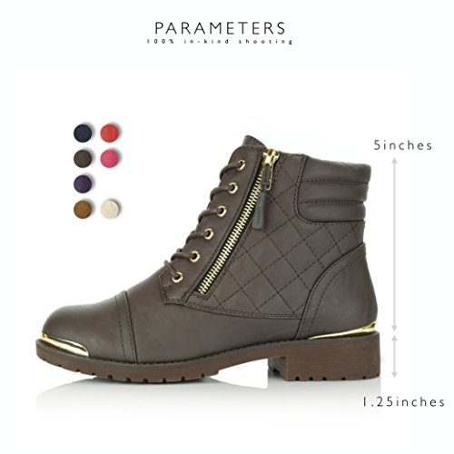 Quilted Ankle Gold Brown Buckle Bootie High Lace Up Combat DailyShoes Military Card Plate Credit Pocket Boots Women's Exclusive wCvBWq1
