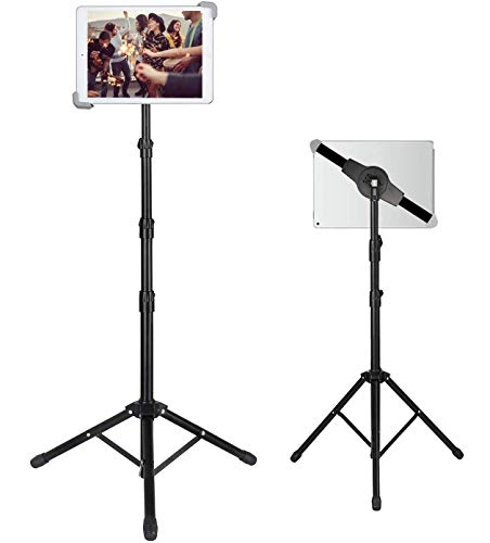 IPad Tripod Stand, Foldable Floor Tablet Stand, Height Adjustable 20 to 60 Inch with 360° Rotating Holder for iPad Pro…