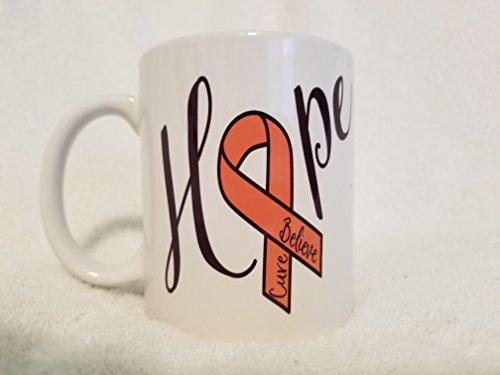Hope Awareness Mug - Believe, Cure, Orange Ribbon, 12 oz Ceramic Coffee Mug (Cure Ribbon Orange)
