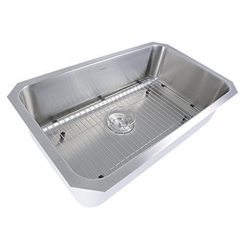 (Nantucket Sinks NS43-10-16 30-Inch and 10-Inch Deep Rectangle Single Bowl Undermount Kitchen Sink, Stainless Steel,)