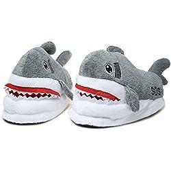Spiritup Adult Soft Plush Shark Non-slip Indoor Warm Slippers Shoes