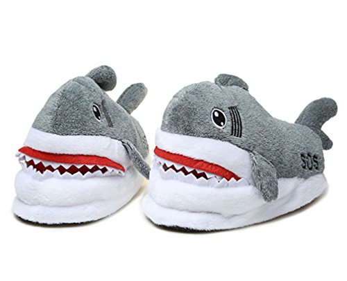 Spiritup Adult Soft Plush Shark Non-slip Indoor Warm Slippers Shoes -