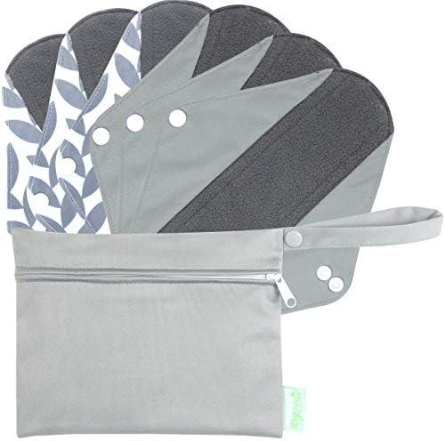 Wegreeco Bamboo Reusable Sanitary Pads (Stylish Pattern) - Cloth Sanitary Pads | Light Incontinence Pads | Reusable Menstrual Pads - 6 Pack Pads, 1 Cloth Mini Wet Bag (Medium, Luxury )