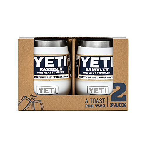 YETI Rambler 10 oz Stainless Steel Vacuum Insulated Wine Tumbler, 2 Pack, White