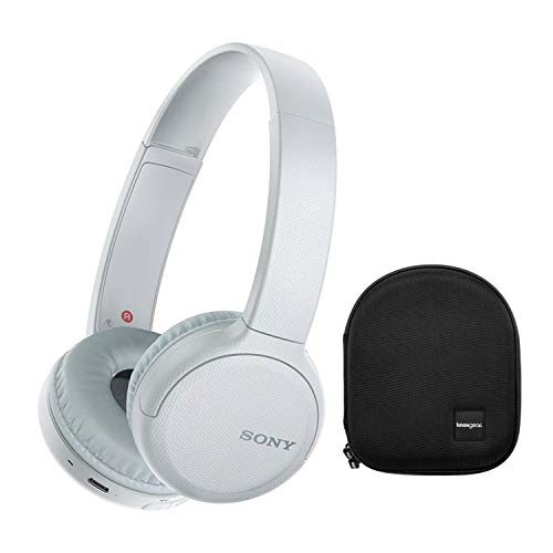 Sony WH-CH510 Wireless On-Ear Headphones (White) with Knox Gear Protective Headphone Case Bundle (2 Items)