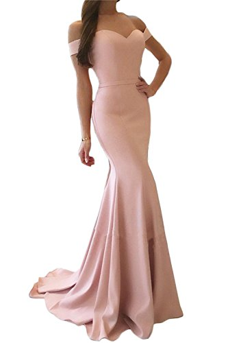 (SDRESS Women's Cap Sleeve Sweetheart Sweep Train Mermaid Prom Homecoming Dress Blush Size 2)