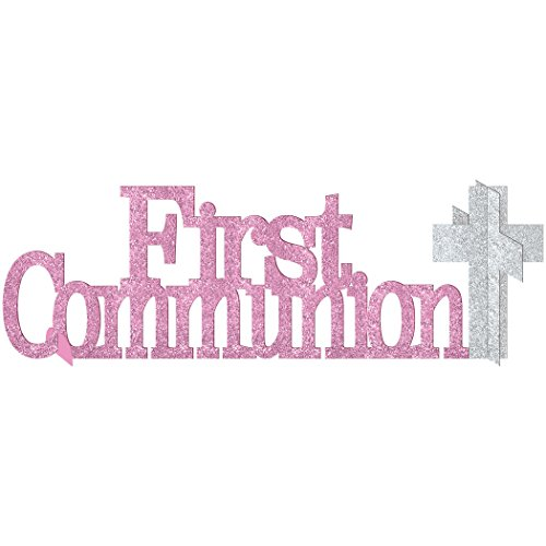 amscan Party Decoration First Communion Centerpiece Party Supplies, Pink, 4 1/2 x 14 inches